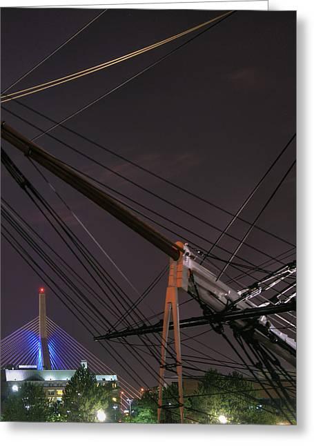 Uscg Greeting Cards - USCG Eagle Cutter and the Zakim Bridge - Boston Greeting Card by Joann Vitali