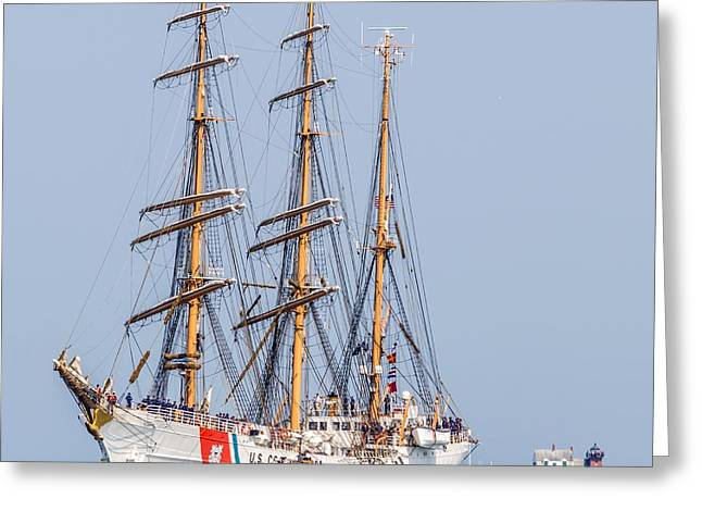 Maine Lighthouses Greeting Cards - USCG Eagle Entering Rockland Harbor Greeting Card by Tim Sullivan