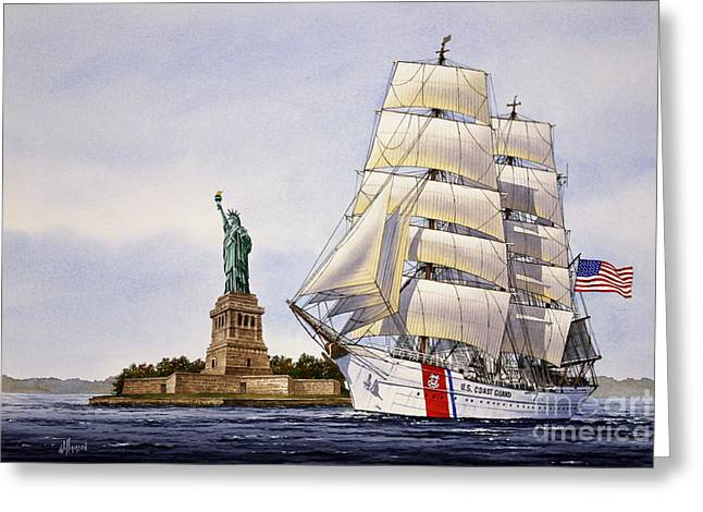 Sailing Ship Framed Prints Greeting Cards - Uscg Eagle Greeting Card by James Williamson