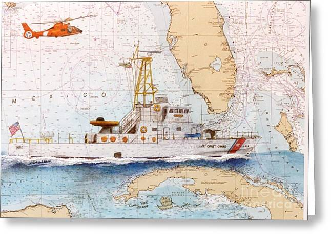 Nautical Chart Greeting Cards - USCG Sapelo Helicopter FL Nautical Chart Map Art Peek Greeting Card by Cathy Peek