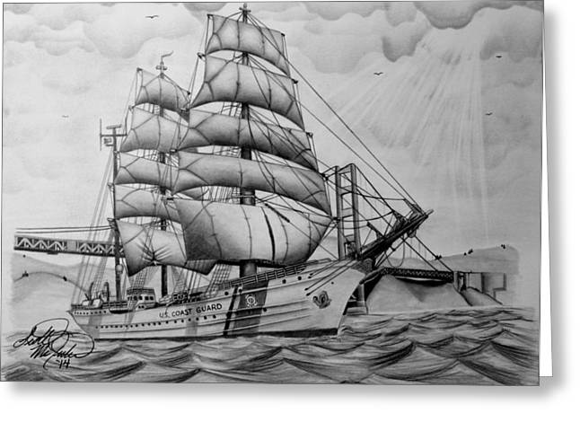 Tall Ships Drawings Greeting Cards - USCGC Eagle Greeting Card by Scott McIntire