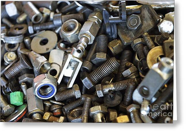 Used Nuts And Bolts Greeting Card by Sami Sarkis