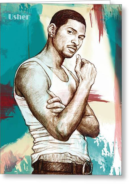 Stylised Greeting Cards - Usher Raymond IV stylised pop art drawing potrait poster Greeting Card by Kim Wang