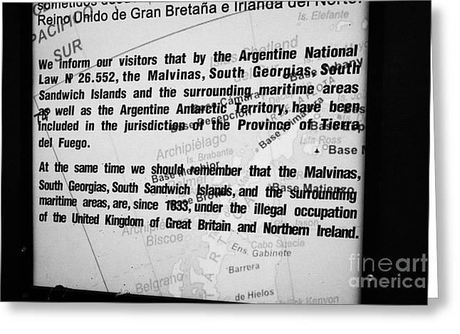 Isla Greeting Cards - Ushuaia Notice Proclaiming Ownership Of Islas Malvinas And Illegal Occupation By The Uk Argentina Greeting Card by Joe Fox