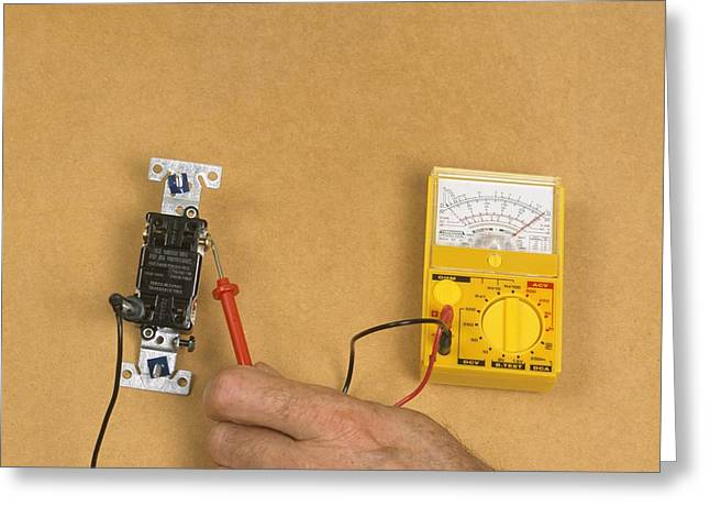 Electric Current Greeting Cards - Using Electric Gauge To Test Current Greeting Card by Dorling Kindersley