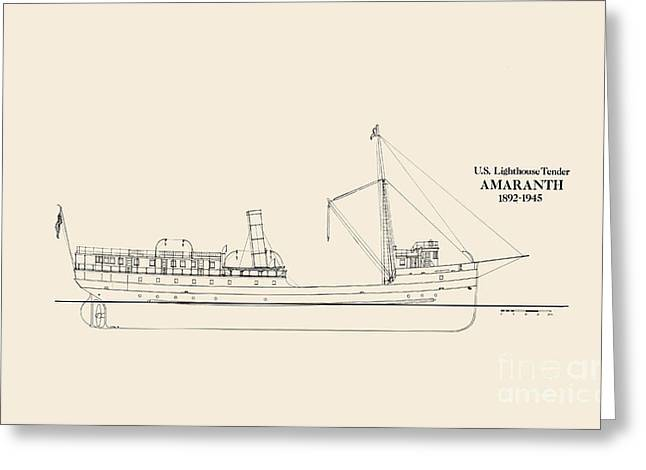 Uscg Drawings Greeting Cards - USLHT Amaranth Greeting Card by Jerry McElroy - Public Domain Image