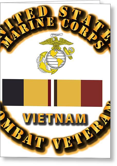 Grunts Digital Greeting Cards - USMC - CAR - Vietnam Veteran Greeting Card by Tom Adkins