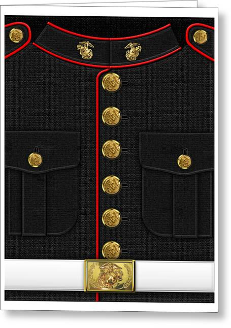 Hi-res Greeting Cards - USMC Dress uniform Greeting Card by Serge Averbukh