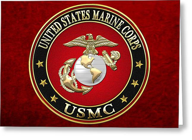 Usmc Greeting Cards - U SM C Eagle Globe and Anchor - E G A on Red Velvet Greeting Card by Serge Averbukh