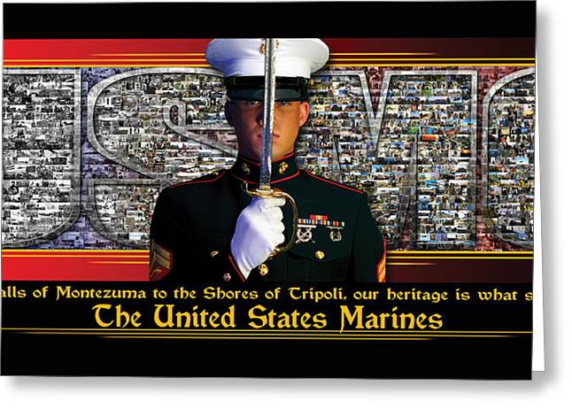 Iraq Posters Greeting Cards - USMC Heritage Sets Us Apart  Greeting Card by Annette Redman