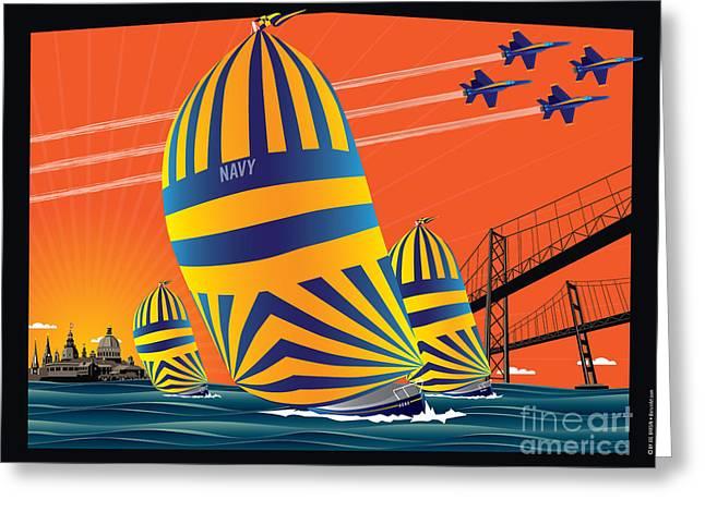 Shed Digital Greeting Cards - USNA Sunset Sail Greeting Card by Joe Barsin