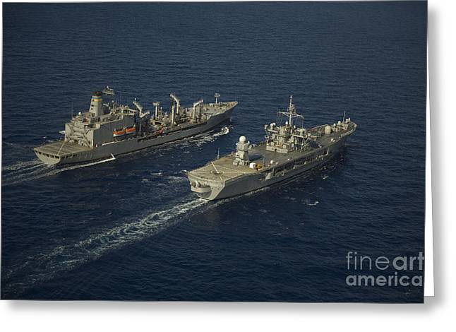 At Arrivals Greeting Cards - Usns Leroy Grumman Conducts Greeting Card by Stocktrek Images