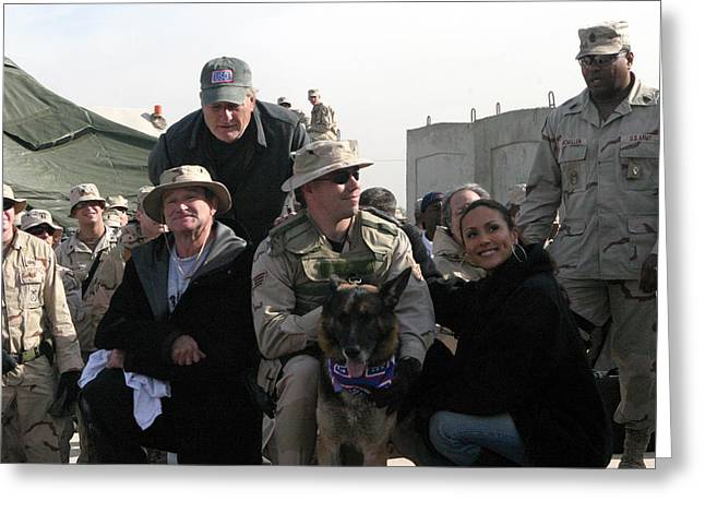 Baghdad Greeting Cards - USO Robin Williams Greeting Card by Annette Redman