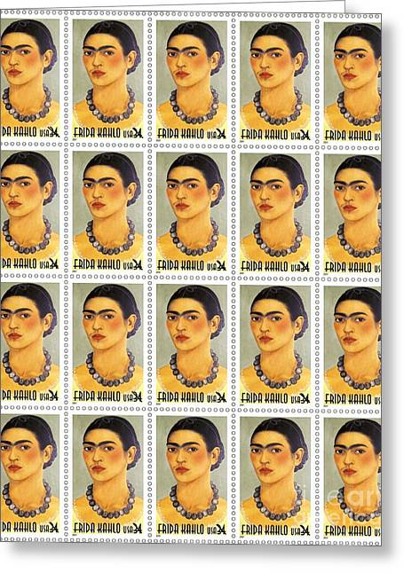 Mexican Drawings Greeting Cards - USPS  Frida Kahlo Greeting Card by Pg Reproductions