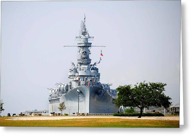 Alabama Greeting Cards - USS Alabama Front View Greeting Card by Michael Thomas