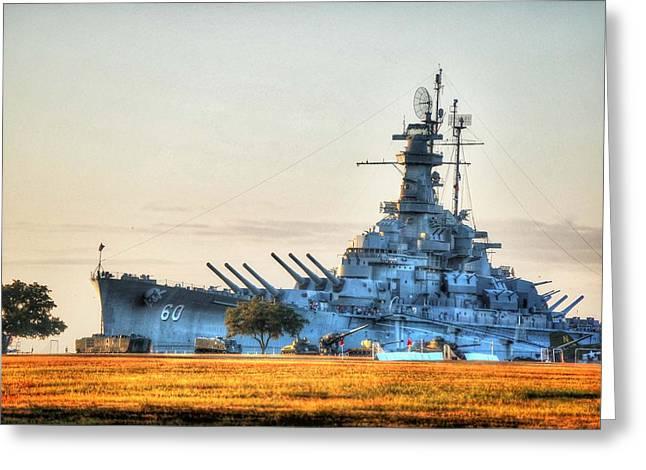 Alabama Digital Art Greeting Cards - USS Alabama Greeting Card by Michael Thomas