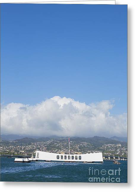 Pearl Harbor Greeting Cards - USS Arizona Memorial Greeting Card by Diane Diederich