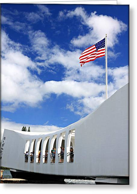 Historic Ship Greeting Cards - USS Arizona Memorial Greeting Card by Stephen Stookey