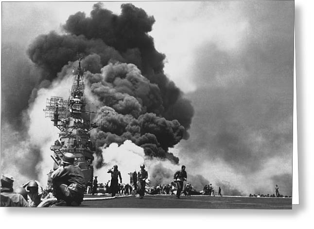 Carrier Greeting Cards - USS Bunker Hill Kamikaze Attack  Greeting Card by War Is Hell Store