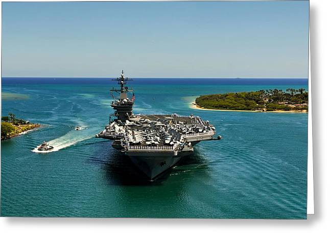 Naval Aircraft Greeting Cards - USS Carl Vinson Greeting Card by Mountain Dreams