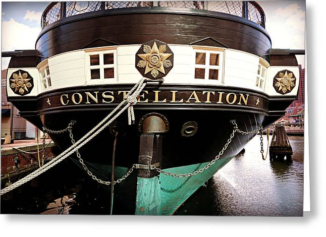 Constellations Greeting Cards - USS Constellation Greeting Card by Stephen Stookey