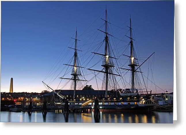 Boston Nights Greeting Cards - USS Constitution and Bunker Hill Monument Greeting Card by Juergen Roth