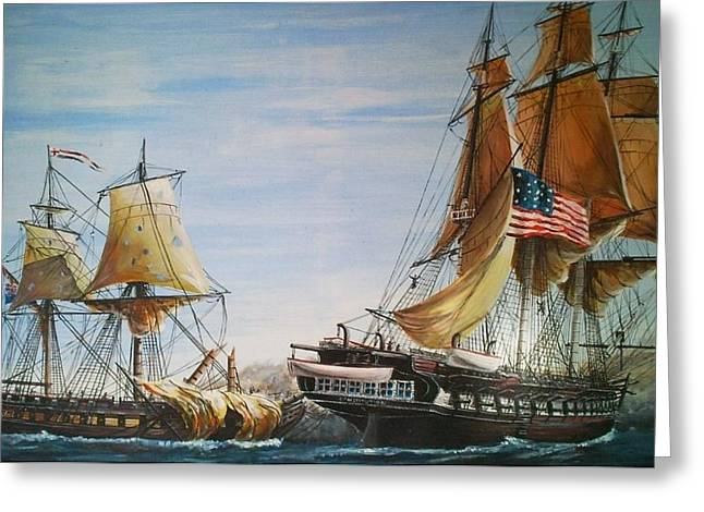 Battle Of Trafalgar Greeting Cards - USS Constitution and HMS Guerriere 1865 Greeting Card by Richard John Holden