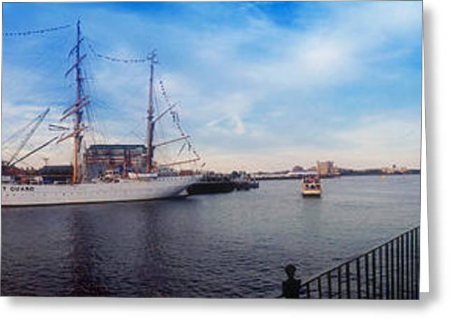 New England Ocean Greeting Cards - USS Constitution and the USCG Eagle Panoramic Greeting Card by Joann Vitali