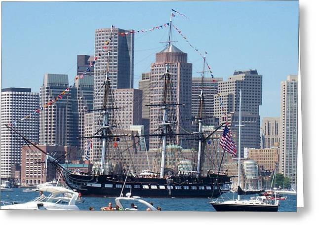 USS Constitution Greeting Card by Catherine Gagne