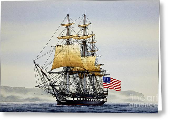 Tall Ship Canvas Greeting Cards - Uss Constitution Greeting Card by James Williamson