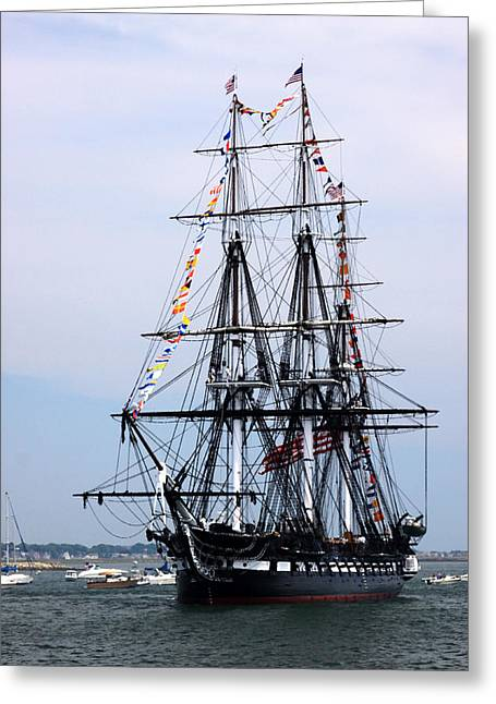 Recently Sold -  - 4th July Greeting Cards - USS Constitution Greeting Card by Nancy A Santry