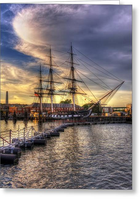 Bunker Hill Greeting Cards - USS Constitution Sunset - Boston Greeting Card by Joann Vitali