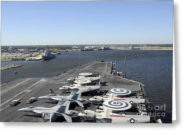 Enterprise Greeting Cards - Uss Enterprise Arrives At Naval Station Greeting Card by Stocktrek Images