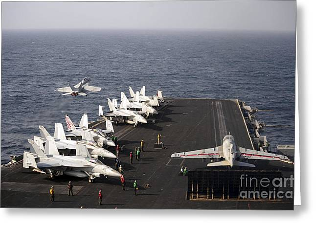 Enterprise Photographs Greeting Cards - Uss Enterprise Conducts Flight Greeting Card by Stocktrek Images