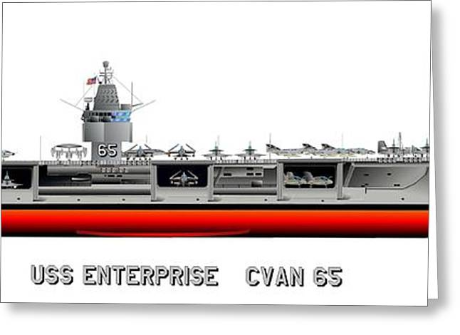 Warship Drawings Greeting Cards - USS Enterprise CVN 65 1969 Greeting Card by George Bieda
