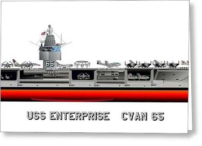 Warship Drawings Greeting Cards - USS Enterprise CVN 65 1971-73 Greeting Card by George Bieda