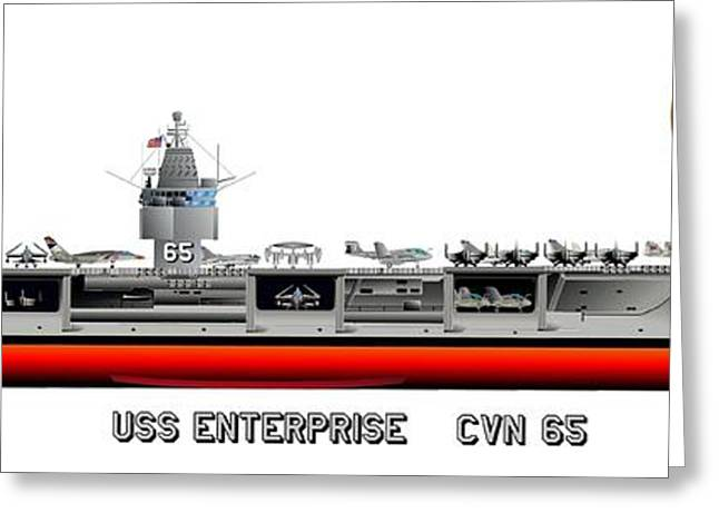 Warship Drawings Greeting Cards - USS Enterprise CVN 65 1975- 1981 Greeting Card by George Bieda