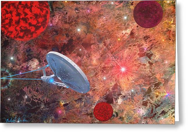 Best Sellers -  - Enterprise Mixed Media Greeting Cards - U.S.S Enterprise -Orion  Greeting Card by Michael Rucker