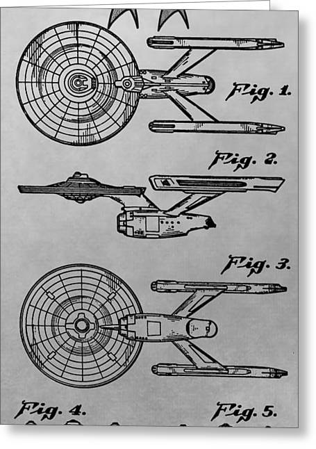 Shatner Greeting Cards - USS Enterprise Patent Illustration Greeting Card by Dan Sproul