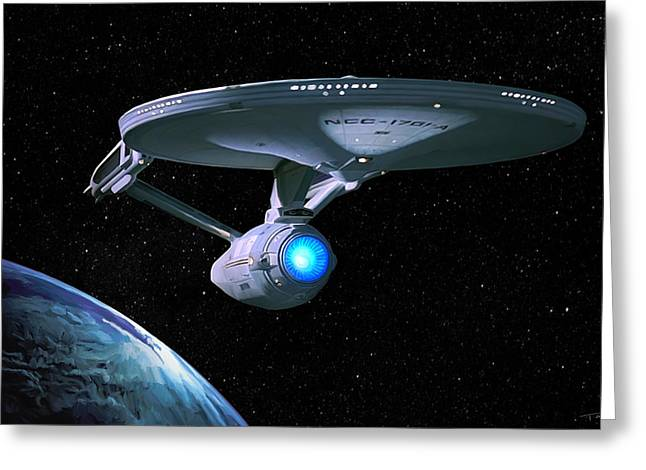 Shatner Greeting Cards - USS Enterprise Greeting Card by Paul Tagliamonte