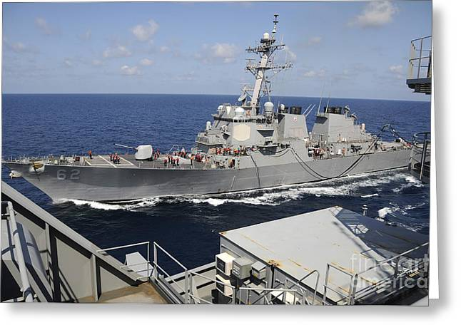 Carat Photographs Greeting Cards - Uss Fitzgerald During A Replenishment Greeting Card by Stocktrek Images