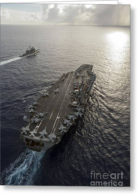 The Higher Planes Greeting Cards - Uss George Washington And Uss Mobile Greeting Card by Stocktrek Images