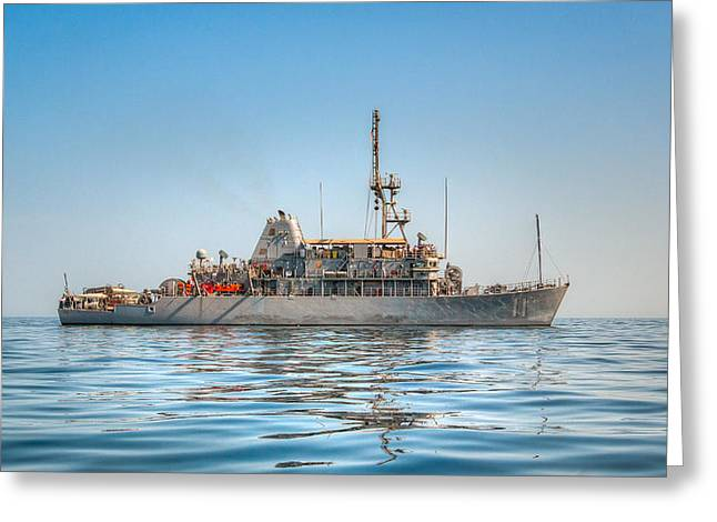 Iron Greeting Cards - USS Gladiator MCM 11 Mine Countermeasures Ship Greeting Card by Joshua McDonough