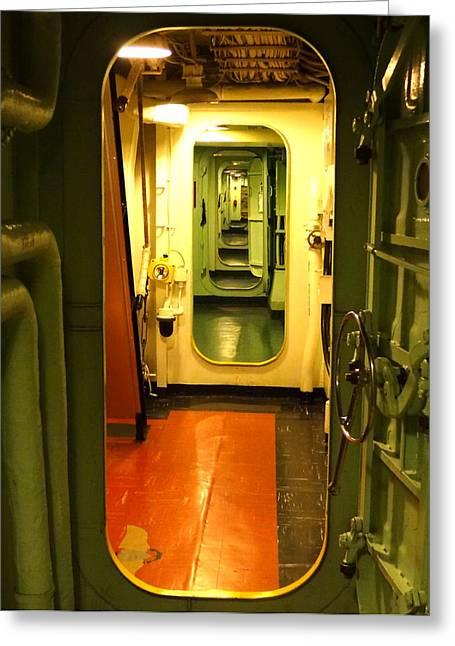 Linoleum Photographs Greeting Cards - USS Hornet Passageway Greeting Card by Anne Mott