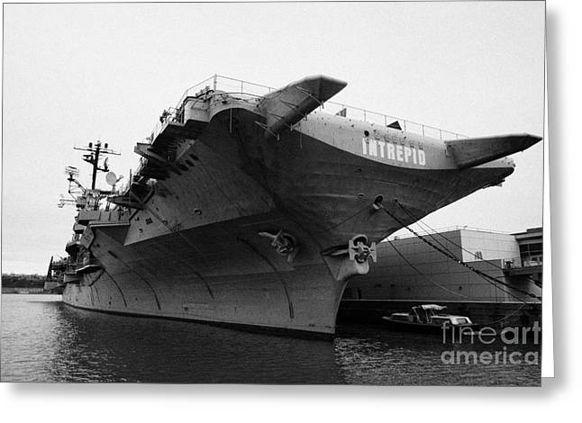 Uss Intrepid Aircraft Carrier At The Intrepid Sea Air Space Museum New York City Greeting Card by Joe Fox