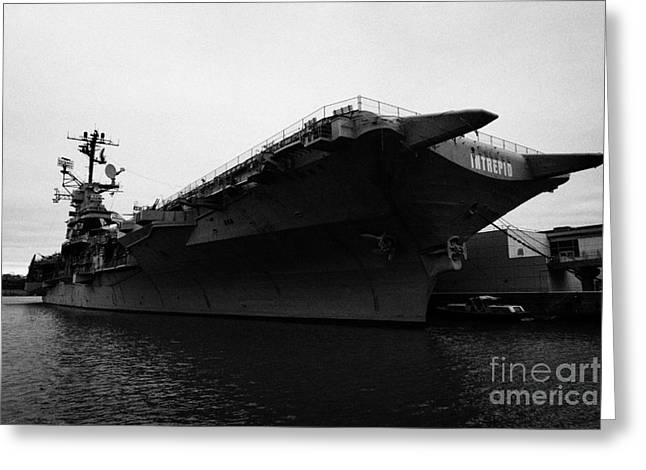 Manhatan Greeting Cards - USS Intrepid Aircraft Carrier at the Intrepid Sea Air Space Museum new york Greeting Card by Joe Fox