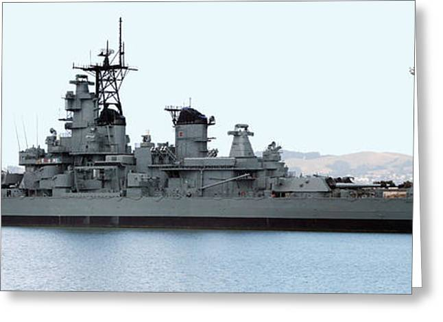 Ship Pyrography Greeting Cards - USS IOWA at a Richmond Pier Greeting Card by DUG Harpster