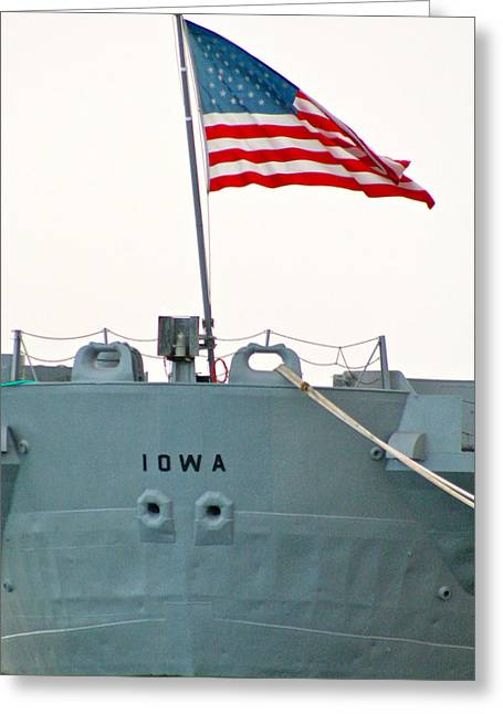 Flag Pyrography Greeting Cards - USS  IOWA  at the Pier in Richmond Ca Greeting Card by DUG Harpster