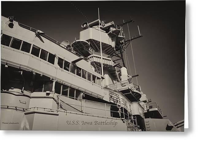 16 Inch Guns Greeting Cards - USS Iowa Battleship Portside Bridge 01 Antique Greeting Card by Thomas Woolworth