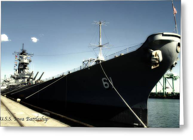 16 Inch Guns Greeting Cards - USS Iowa Battleship Starboard Side Antique Greeting Card by Thomas Woolworth